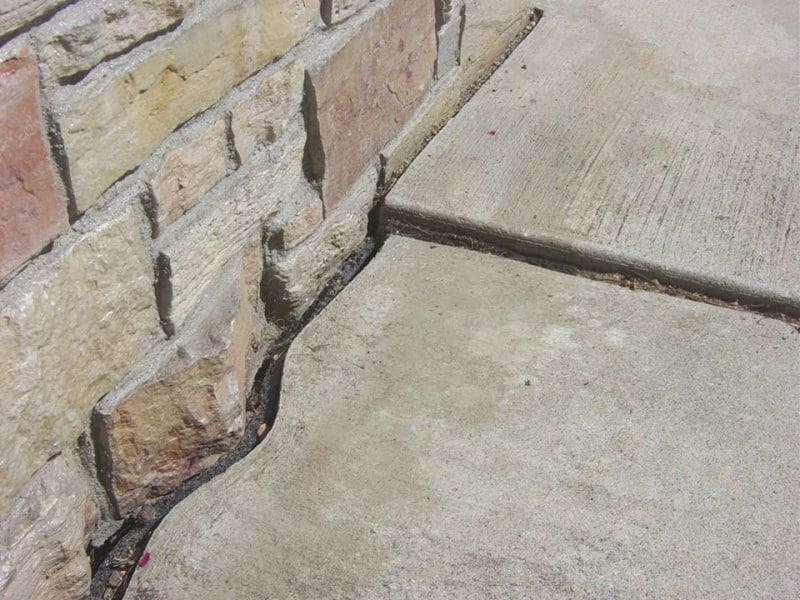 Concrete Filing in Walkway