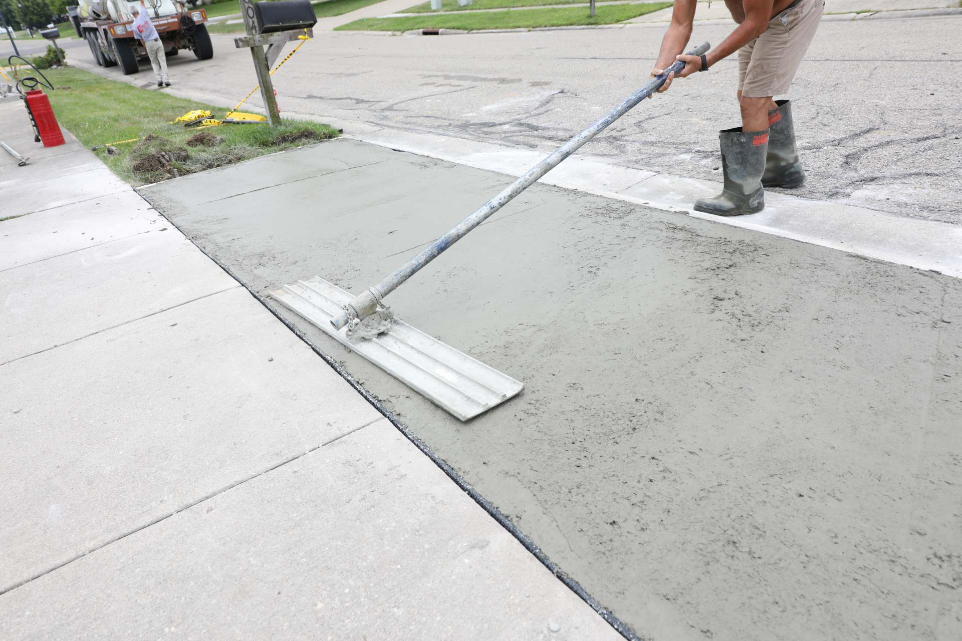 Concrete Work is Being Performed at a Home
